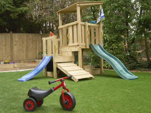 Climbing frame in the outside play area at Juniors Day Nursery, Tunbridge Wells.